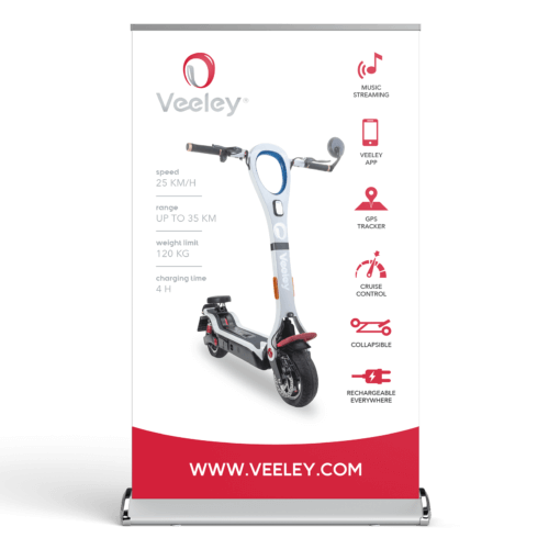 Veeley V5 elektrische step Dealer Roll-up Banner